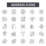 Adres kreskowe ikony Editable uderzenie znaki Pojęcie ikony: internet, email, usługa, sieć, kontaktowy etc Adresu kontur royalty ilustracja