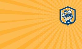Adreskaartje Amerikaanse Voetbal QB die Retro Schild werpen Royalty-vrije Stock Foto's