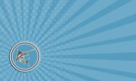 Adreskaartje Blauw Marlin Fish Jumping Circle Retro Stock Afbeelding