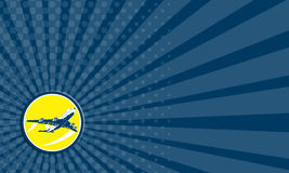 Adreskaartje Commerciële Jet Plane Airline Circle Retro Royalty-vrije Stock Afbeelding