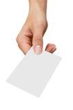 Adreskaartje in een hand van vrouwen Stock Fotografie