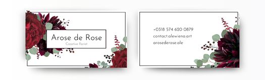 Adreskaartje elegante moderne ontwerpsjabloon Dr. van de waterverfhand stock illustratie