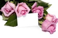 Adreskaartje en rozen Stock Fotografie