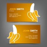 Adreskaartje gele banaan Stock Afbeeldingen