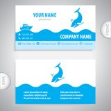 Adreskaartje - Grote walvis - symbooloverzees royalty-vrije illustratie
