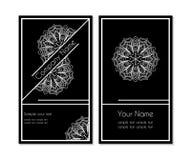 Adreskaartje met kanten wit patroon Stock Foto's