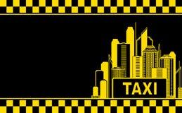 Adreskaartje met taxi en nachtstad Stock Foto's