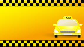 Adreskaartje met taxiauto op gele achtergrond Stock Foto's