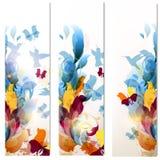 Adreskaartjes in bloemen psychedelische stijl worden geplaatst die Royalty-vrije Stock Foto's