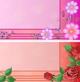 Adreskaartjes met bloemen Stock Foto's