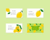 Adreskaartjes met Rijp Sappig Citroenfruit Stock Afbeeldingen