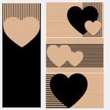 Adreskaartjes of prentbriefkaaren van karton met harten Royalty-vrije Stock Foto