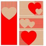 Adreskaartjes of prentbriefkaaren van karton met harten Royalty-vrije Stock Fotografie