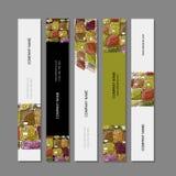 Adreskaartjesontwerp, de schets van de fruitmarkt Stock Afbeeldingen