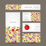 Adreskaartjesontwerp, fruitachtergrond Stock Afbeeldingen