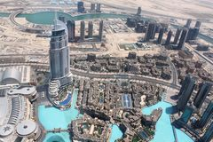 The Adress Downtown hotel viewd from Burj Khalifa Royalty Free Stock Images