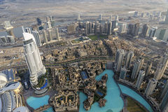Adress i stadens centrum Dubai som ses från Burj Khalifa Fotografering för Bildbyråer