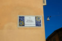 Adress plate. A beautiful street adress plate in Ravenna, Italy Royalty Free Stock Photo