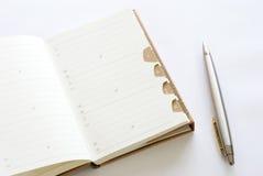 Adressbuch mit Ballpoint Lizenzfreies Stockfoto