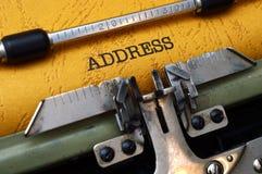 Adresse auf Schreibmaschine Lizenzfreie Stockfotos