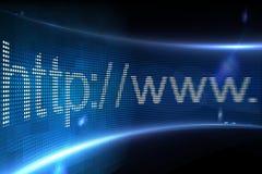 Adresse de HTTP sur l'écran numérique Photo stock
