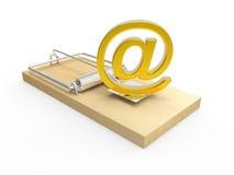 adresse e-mail de l'or 3d sur la souricière à clapet Photographie stock libre de droits