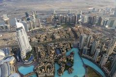 Adresse im Stadtzentrum gelegenes Dubai gesehen von Burj Khalifa Stockbild