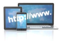 Adresse internet sur l'ordinateur portable, comprimé numérique et illustration libre de droits