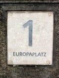 Adressen-Etikett von Europaplatz 1 in München Stockbild