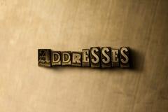 ADRESSEN - Nahaufnahme des grungy Weinlese gesetzten Wortes auf Metallhintergrund Stockfotos
