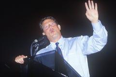 Adressen Senators Al Gore die Menge bei Tyler Junior College auf der Clinton-/Gore-Buscapade Kampagne Ausflug 1992 in Tyler, Texa Lizenzfreie Stockbilder