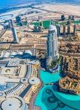 Adresshotellet i det i stadens centrum Dubai området förbiser den berömda daen Arkivfoto