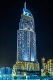 Adresshotellet i det i stadens centrum Dubai området förbiser den berömda daen Arkivfoton