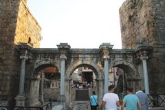 Adrian gates of old town Antalya Turkey. The Adrian gates of old town Antalya Turkey Stock Photography