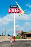 Adrian, Texas - JULY 18, 2014: Midpoint Cafe on Route 66, halfway between Los Angeles and Chicago. stock images
