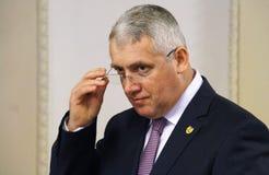 Adrian Tutuianu Senator do Partido Democratico Social - confe da imprensa fotografia de stock