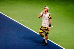 Adrian Ungur que celebra ganando el partido contra Grega Zemlja Fotos de archivo