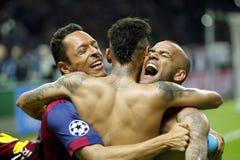 Adriano, Neymar-jr. und Dany Alves FC Barcelone Lizenzfreies Stockfoto
