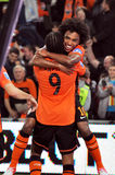Adriano selebrate a first goal Royalty Free Stock Images