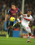 Adriano vies with Zuiverloon. Adriano Correia(L) of Barcelona vies with Gianni Zuiverloon(R) of Mallorca of Barcelona during the spanish league match at the Nou Stock Photography