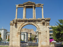 The Adrianou Gate by night in Athens Stock Photos