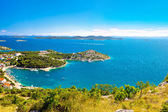 Adriatic archipelago aerial summer view Royalty Free Stock Photo