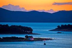 Adriatic archipelago of Pakostane aerial sunset view Royalty Free Stock Photo