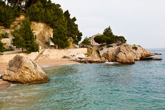 Adriatic Beach in Brela Village Stock Images