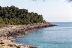 The Adriatic coast in Istria. The Adriatic coast at cape Kamenjak in Istria, Croatia royalty free stock image
