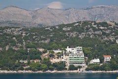 Adriatic coast, mountains, Croatia. Adriatic coast, buildings in front of mountains. Dubrovnik, Croatia Stock Photos