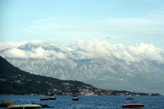 Adriatic coast. The view from the shore of the lovely mountain range on the Adriatic coast Royalty Free Stock Photos