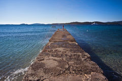 Adriatic concrete pier Stock Photo