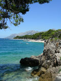 Adriatic costline. Adriatic coastline at Brela, Croatia (most beautiful beach of Europe at 2004 (by Forbes royalty free stock image