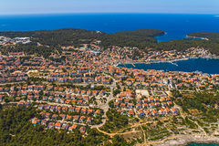 Adriatic landscape - Island Losinj. Aerial panorama of island Veli Losinj in Zadar area, Croatia. Famous tourist attraction Royalty Free Stock Photos
